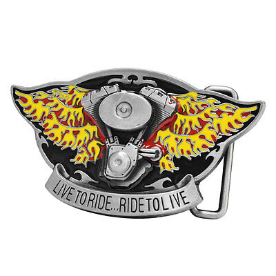 LIVE TO RIDE RIDE TO LIVE Belt Buckle Motorcycle Biker Engine Unique Metal New