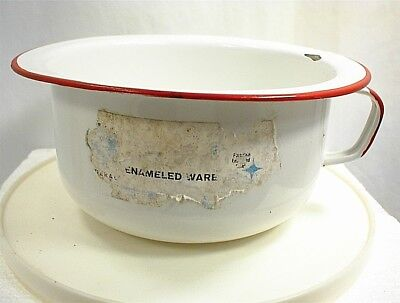 Vintage Childs Chamber Pot Red White Enamelware Handle Enamel