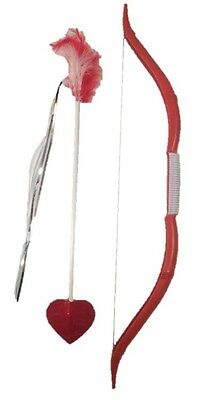 Cupid Bow and Arrow Set Feathers Heart Costume Accessory Prop St. Valentines New