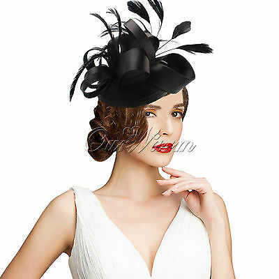 2015 New Vintage Satin Fascinator Feather Clip Hat Lady Girl Party Decor Wedding
