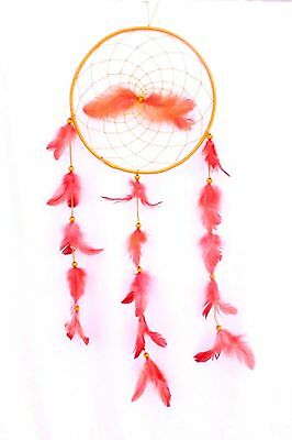 New Large Orange Dream Catcher Handmade With String Feather Car Wall Decor Iw