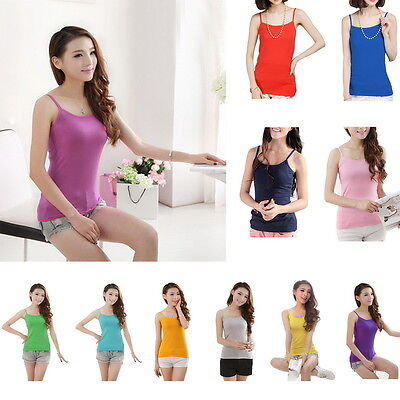 Women Ladies Slim Fit Strappy Vest Tank Tops Sleeveless Tees Solid Girl Camisole