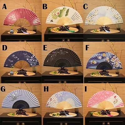 Women Small Silk Flower Bamboo Folding Hand Fan Japanese Chinese 21cm Vintage