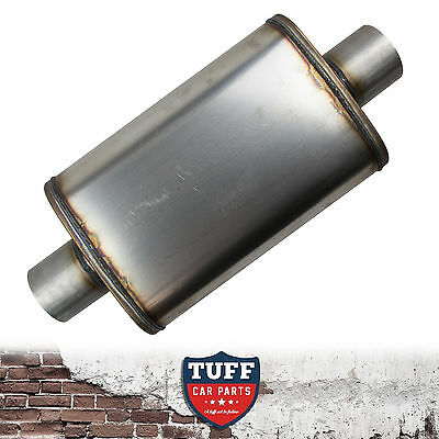 """2.5"""" Megapower Straight Through 409 Stainless Steel Muffler Centre In Out 14x9x4"""