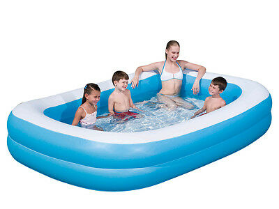 Bestway Large Deluxe Rectangular Inflatable Swimming Pool Family Paddling 778L