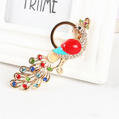 Cute Peacock Peafowl Tail Multi-colors Crystal Charm Pendant Key Ring Chain Gift