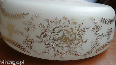 """WHITE SATIN GLASS SCHOOLHOUSE SHADE GOLD FLORAL SWAGS 10""""FITTER 1930's-40's"""
