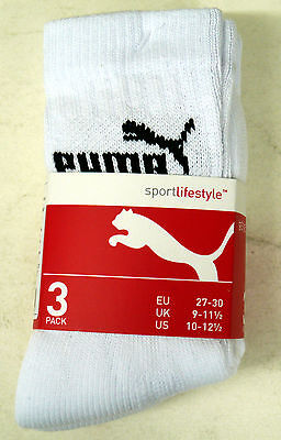 Puma 3 x Pairs Junior Sports Socks 9-11.5 12-1.5 UK White Pink Blue Black