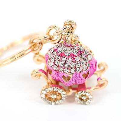 Pumpkin Carriage Rhinestone Crystal Pendent Charm Purse Bag Key Chain Gift