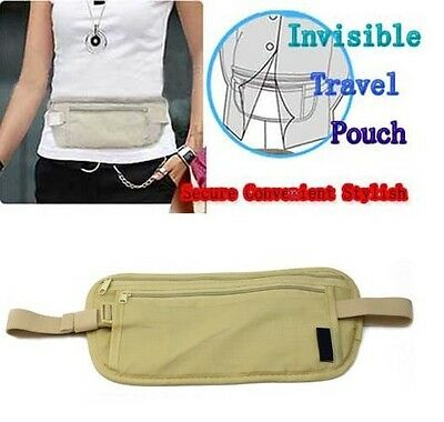 Travel Sport Pouch Bag Hidden Compact Security Money Waist Belt Holder Pocket