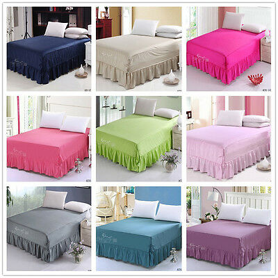 9 Solid Color Design Cotton Queen/King Size Bed Skirt Valance No Pillowcase Drop