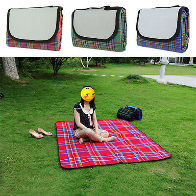 Large Waterproof Picnic Blanket Rug Outdoor Beach Camping Picnic Mat Plaid