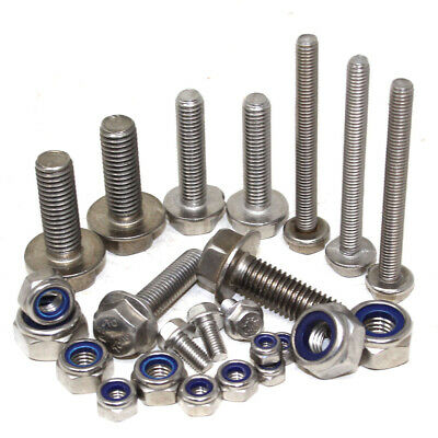 M5 M6 M8 M10 A2 Stainless Steel Hexagonal Flange Bolts With Free Nyloc Nuts