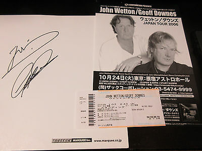 John Wetton Geoff Downes 2006 Japan Tour Ticket w Signed Card Asia King Crimson