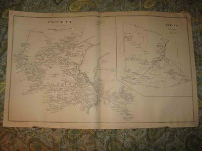 Large Antique 1892 Portsmouth Exeter Plaistow New Hampshire Map Detailed Rare Nr