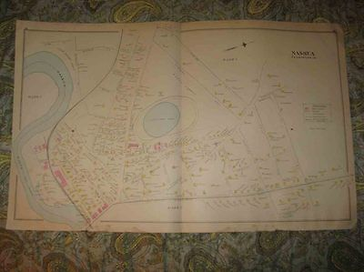 3 Antique 1892 Nashua New Hampshire Handcolored Map Ward 1 2 6 7 8 Industry Rare