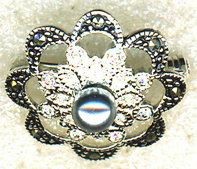 "925 Sterling Silver  Marcasite And Cubic Zirconia Grey Pearl Brooch Small 1"" dia"