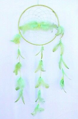 New Large Light Green Dream Catcher Handmade W/ String Feather Car Wall Decor Iw