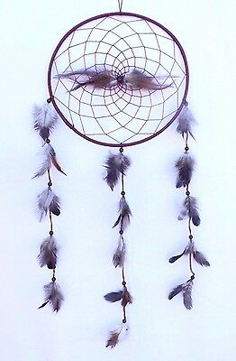 New Large Brown Dream Catcher Handmade String Black Feather Car Wall Decor Iw