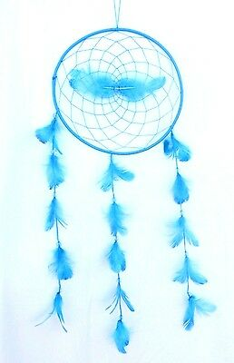Large Turquoise Blue Dream Catcher Handmade String Feather Wall Decor ( Qty 2 )