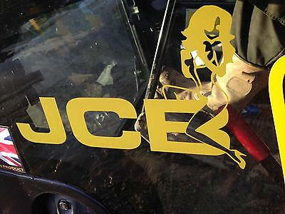 JCB Digger Tractor Decal Funny Girl on Logo Sticker x 2 NEW STYLE LOGO