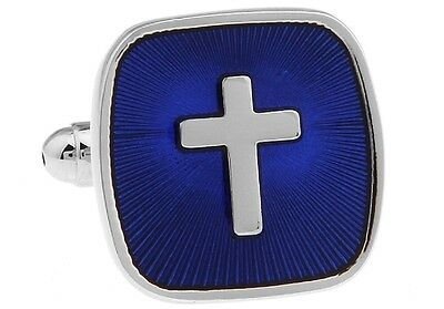 Cross Cufflinks Blue Square Pastor Priest Wedding Fancy Gift Box Free Ship USA