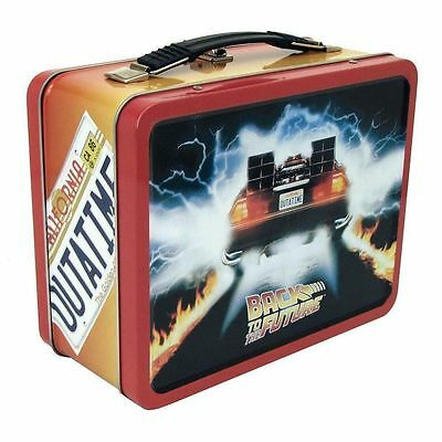 Back To The Future Tin Tote Metal Lunchbox Retro Style Outatime Delorean Movie