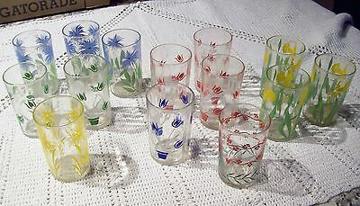 14 Lovely Vintage Swanky Swig Glasses - Daffodils Bachelor Buttons & More