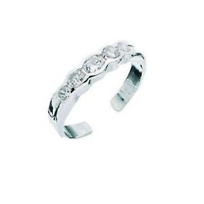 Sterling Silver Clear Cubic Zerconia Toe Ring (Ajustable)