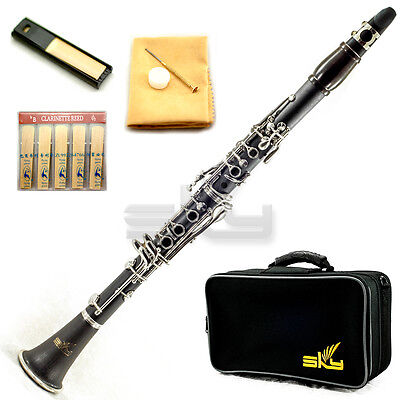 New High Quality Bb Clarinet Package Nickle Silver Keys w Premium Ebony Neck