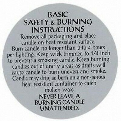 """Safety & Burning Instruction Labels (2-1/2"""") for PILLAR Candles (Lot of 500)"""