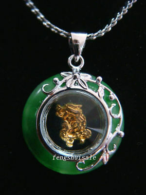 Horoscope Jade Animal Dragon Pendant+Rhodium Plat Chain