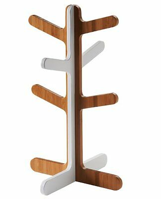 Typhoon CONNECT MUG TREE for 6 Cups 33cm Tall BAMBOO WOOD & WHITE