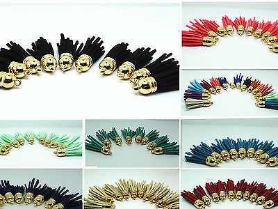 10pcs Artificial Leather Velvet DIY Craft Hand Made golden Tassel Pendants