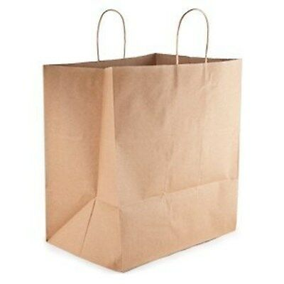 50 Paper Retail Shopping Bags KRAFT with Rope Handles 13x7x17, Paper