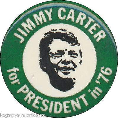 1976 Jimmy Carter for President in '76 Campaign Button (1487)