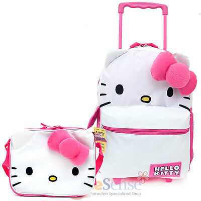 Sanrio Hello Kitty Large School Roller Backpack Lunch Bag 2pc Set :Iconic Collec