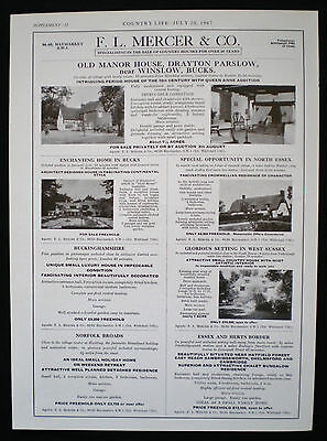 Old Manor House Drayton Parslow Village Winslow Bucks Estate Agent Advert 1967