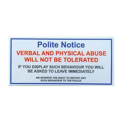 Verbal And Physical Abuse Will Not Be Tolerated Taxi Sticker