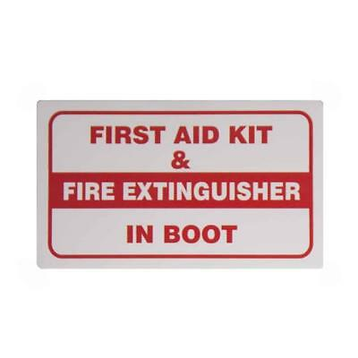 FIRST AID KIT AND FIRE EXTINGUISHER IN BOOT - Taxi Window Sticker
