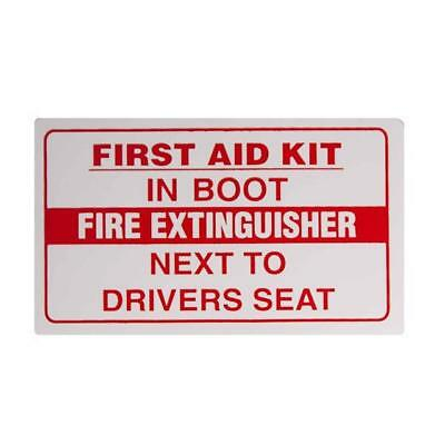 FIRST AID KIT IN BOOT/FIRE EXTINGUISHER NEXT TO DRIVERS SEAT Taxi Window Sticker