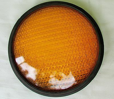 "Vtg Kopp Eagle Traffic Light Signal GLASS Lens Cover Amber 8-3/8"" EUC"