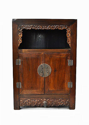 Unique Chinese Walnut Wood Display Storage Cabinet Table Stand w/Carving C17-18