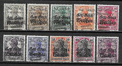 Poland/KOLO stamps 1918 collection of 10 LOCAL ovpt stamps  CANC  VF