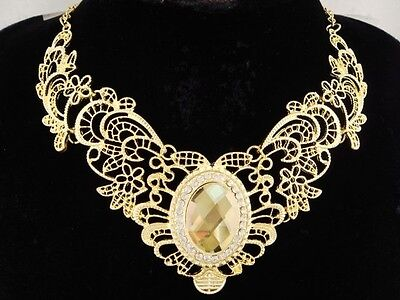 necklace 18k gold p metal lace light yellow crystal vintage victorian style FIOJ
