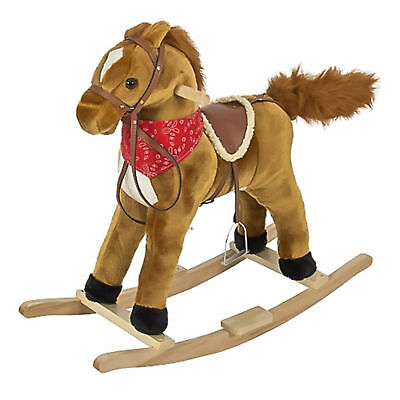 Rocking Horse Plush Brown With Sound toy Boys Rocking Horse Solid Construction