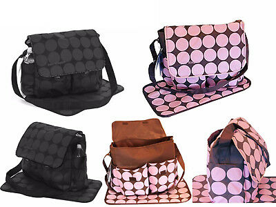 Baby Kingdom Polka Dots Nappy Diaper Changing Bags Set Pink/Black Colour Option