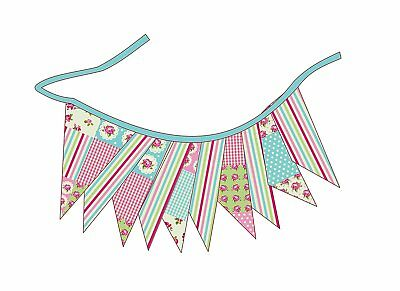 Patchwork Design Double Sided Textile Bunting Party Decoration