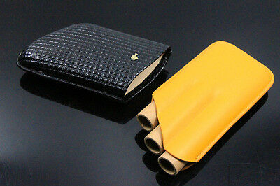 COHIBA Two-Color Leather Cigar Travel Case / Sheath Holds 3 cigars