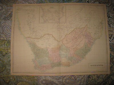 Huge Superb Antique 1854 South Africa Black Map Colonial Orange River Tribes Nr